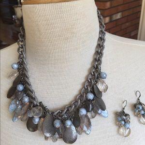 Francesca's chunky blue/grey/silver necklace set